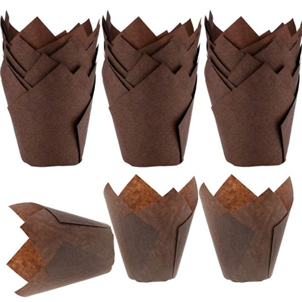 Racdde Tulip Baking Cups 150-Pack Natural Cupcake Muffin Paper Liners Grease-Proof Wrappers for Wedding, Birthday Party, 1.96 x 3.14 Inch, Brown Color