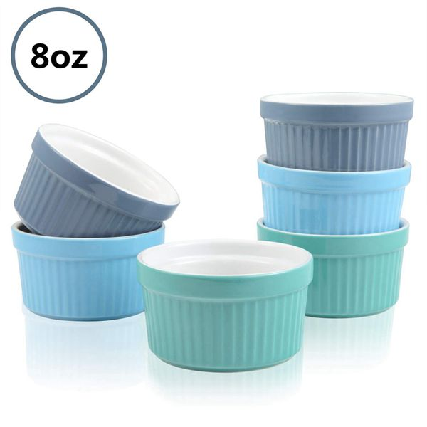 Racdde 8oz Ramekins Porcelain Souffle Dishes Ceramic Baking Cups Custard Cups for Pudding, Creme Brulee, Ice Cream, Cooking, Set of 6, Assorted Colors
