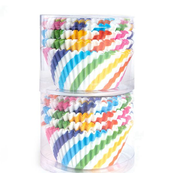 Racdde Paper Baking Cups 200 Count Muffin Cupcake Liners Rainbow Styles Standard Size Baking Cups Disposable Cupcake Carrier