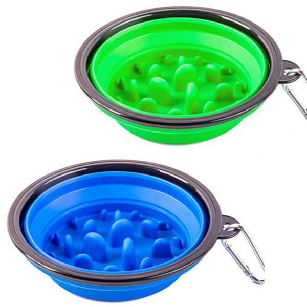 Racdde 2 Pack Collapsible Dog Bowl, Slow Feed Dog Bowl, Foldable Pet Travel Bowl, Portable Slow Feeder Cat Bowl, for Outdoor Camping Pet Food Water Feeding Large Size Green and Blue
