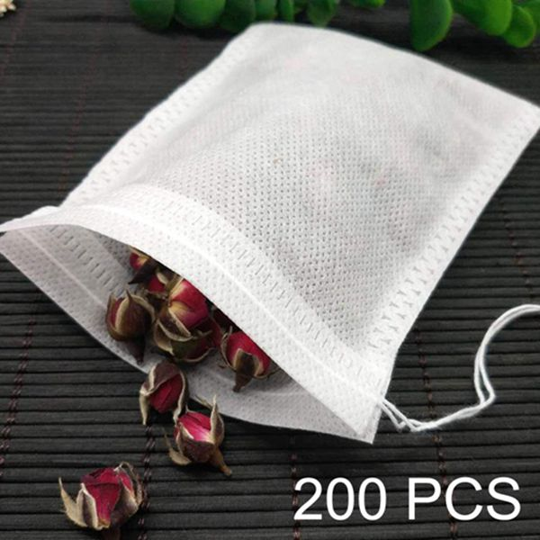 Racdde Tea Filter Bags 200-Pack 2.75 x 3.54 inch Disposable Tea Infuser Natural Non-woven Fabric Material Drawstring Tea Bag Empty for Loose Tea