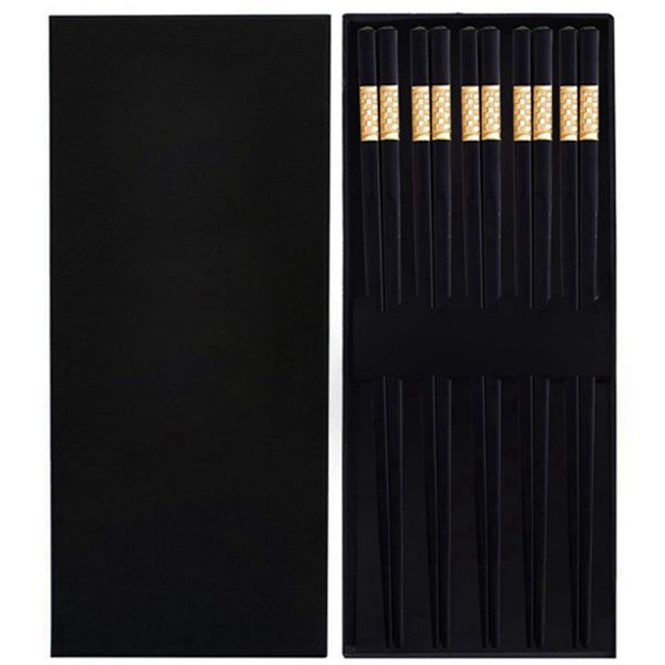 Racdde Chopsticks Reusable 5 Pairs Fiberglass Useable Chopstick 9.4 Inch Long User Friendly Chopsticks, Elegant Decorative Lattice pattern, Dishwasher Safe