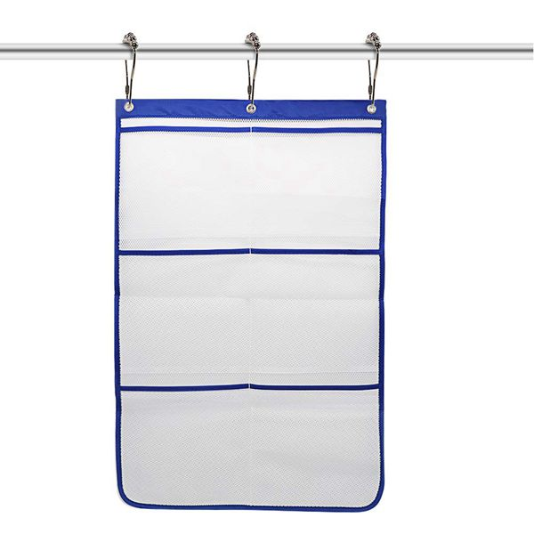 Racdde 6 Pockets Mesh Shower Caddy Bathroom Hanging Mesh Bath Organizer Shower Curtains Rod Hanging Caddies with 3 Hanging Rings and 3 Hooks for Selection, Space Saving, 17 x 26 Inch, Blue