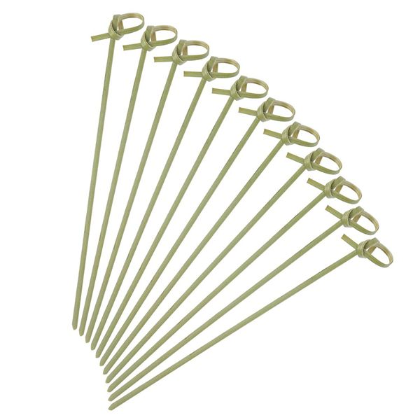Racdde 6 Inch Cocktail Picks 200-Pack Bamboo Knot Skewers Twisted Ends Appetizer Picks for Cocktail Party, Wedding Party or Barbecue Snacks Fruit