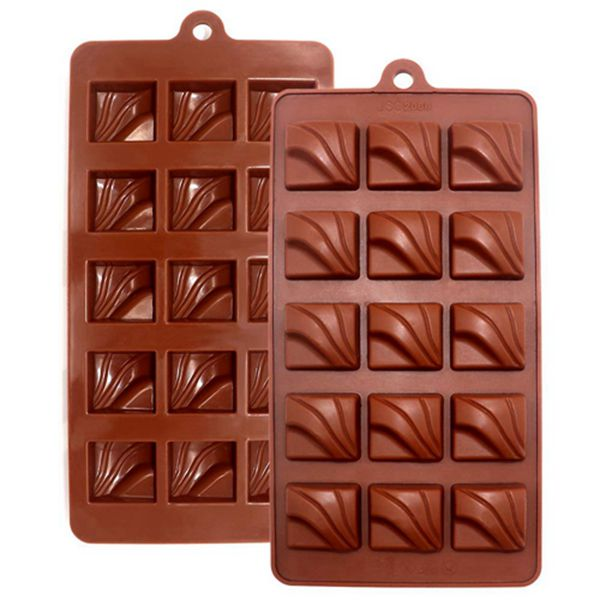 Racdde 2-Pack Silicone Chocolate Molds Non-stick Candy Making Molds Silicone Baking Molds Square Chocolate Bars Dessert Making Kit for Kids, 15-Cavity of Each