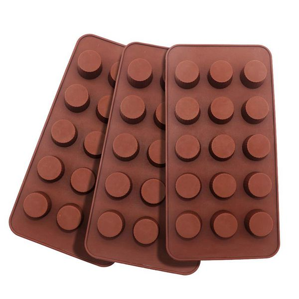 Racdde 3-Pack Silicone Chocolate Molds Non-stick Round Candy Making Mold Silicone Baking Bar Molds Making Kit Cylindrical Chocolate Dessert for Kids, 15-Cavity of Each