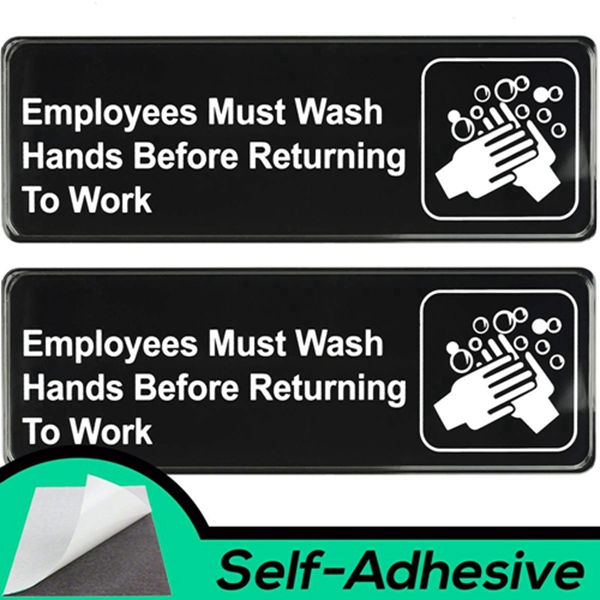 Racdde Easy Install Employees Must Wash Hands Before Returning to Work Sign With Self-Adhesive Backing. 2 Pack Set, One Each For The Mens and Womens Restroom. Takes 30 Seconds To Post Above Bathroom Sinks