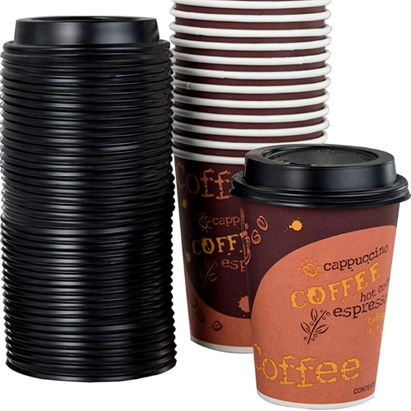 Restaurant Grade 12 Oz Paper Coffee Cups With Recyclable Dome Lids. 100 Pack By Racdde. Durable, BPA Free Disposable Designer Cups For Hot Drinks At Kiosks, Shops, Cafes, and Concession Stands