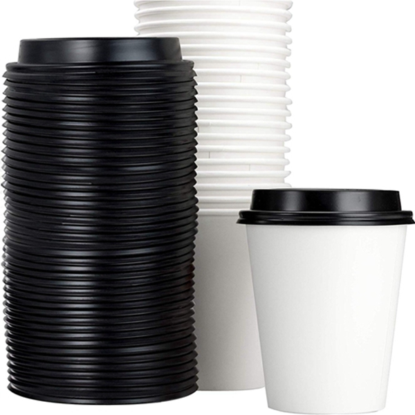 Restaurant Grade 12 Oz Paper Coffee Cups With Recyclable Dome Lids. 100 Pack By Racdde. Durable, BPA Free Disposable Cups For Serving Hot Drinks At Kiosks, Shops, Cafes, and Concession Stands