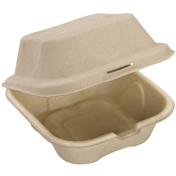 Racdde Biodegradable 6x6 Take Out Food Containers with Clamshell Hinged Lid 50 Pack. Microwaveable, Disposable Takeout Box to Carry Meals Togo. Great for Restaurant Carryout or Party Take Home Boxes