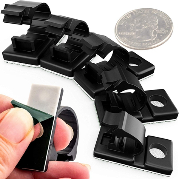 Racdde Pro-Grade, Adhesive-Backed Cable Clamps Combo Pack of 100. Multi-Size Set of 20x 4, 6, 8, 10 and 12 mm Black Clips for Wire Management and Cord Organization. Tools-Free Install for Home Or Office.