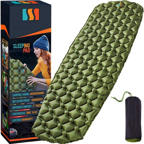 Racdde Camping Sleeping Pad - Mat, (Large), Ultralight 14.5 OZ, Best Sleeping Pads for Backpacking, Hiking Air Mattress - Lightweight, Inflatable & Compact, Camp Sleep Pad