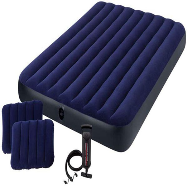 Racdde Classic Downy Airbed Set with 2 Pillows and Double Quick Hand Pump, Queen