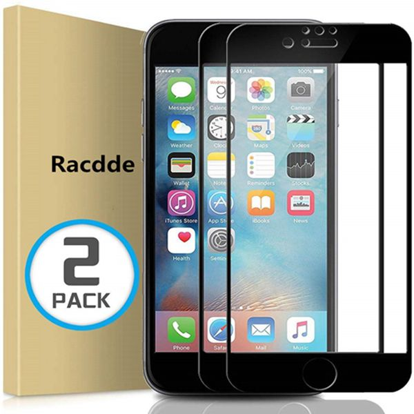 Racdde (2 Pack) iPhone 7 8 6S 6 Screen Protector, Full Coverage Tempered Glass Screen Protector Film Edge to Edge Protection Compatible with iPhone 7, iPhone 8, iPhone 6S, iPhone 6, 4.7 Inch, Black