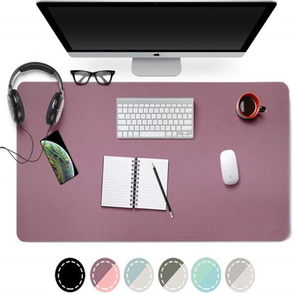 "Racdde Dual Sided PU Leather Desk Pad, 2019 Upgrade Sewing Edge Office Desk Mat, Waterproof Desk Blotter Protector, Desk Writing Mat Mouse Pad (Purple/Pink, 31.5"" x 15.7"")"