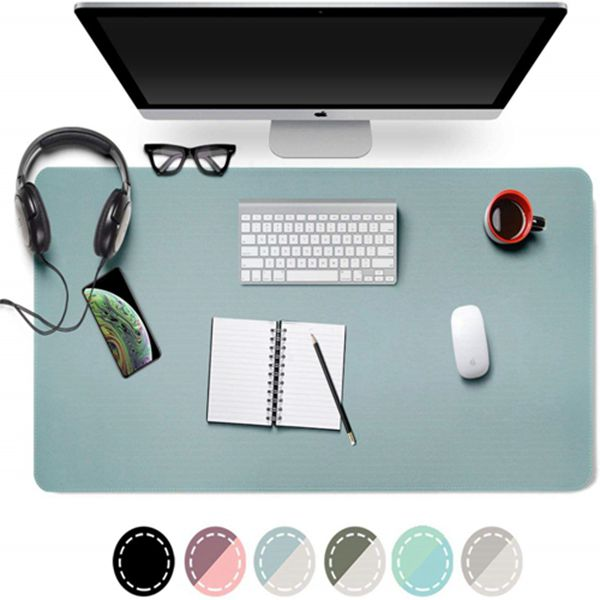 "Dual-Sided Desk Pad Office Desk Mat, Racdde Ultra Thin Waterproof PU Leather Mouse Pad Desk Blotter Protector, Desk Writing Mat for Office/Home (Light Blue/Silver, 31.5"" x 15.7"")"