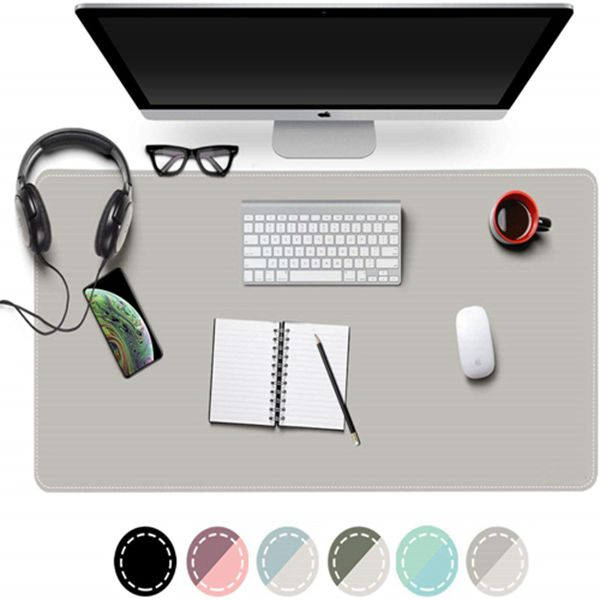 """Racdde Dual Sided Office Desk Pad, New Upgrade Sewing Waterproof PU Leather Large Mouse Mat Desk Blotter Protector, Ultra Thin Desk Writing Mat for Office/Home (Gray/Silver, 31.5"""" x 15.7"""")"""