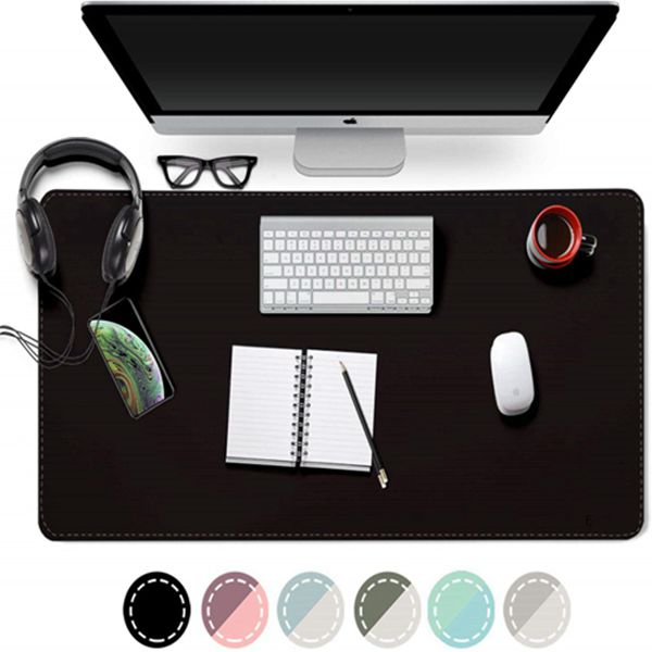 """Racdde Dual Sided Desk Pad, 2019 Upgrade Sewing PU Leather Office Desk Mat, Waterproof Desk Blotter Protector, Desk Writing Mat Mouse Pad (Classical Black, 31.5"""" x 15.7"""")"""