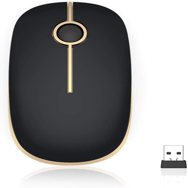 Racdde 2.4G Slim Wireless Mouse with Nano Receiver MS001 (Black and Gold)