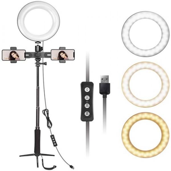 "Racdde Desktop LED Ring Light 8"" with Dual Phone Holder & Tripod Stand for Live Streaming YouTube Video Makeup, LED Camera Light Lamp 3 Light Modes 11 Brightness"