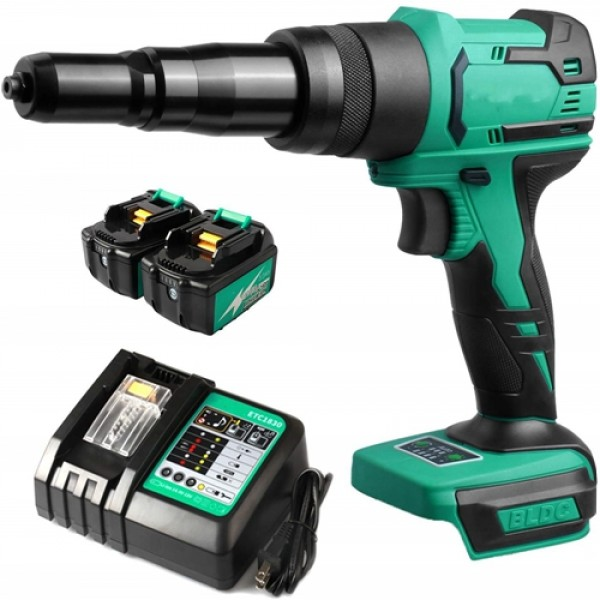 """Racdde 18V Cordless Rivet Gun Brushless Lithium-ion Automatic Blind Rivet Tool for 3/32"""", 1/8"""", 5/32"""", 3/16"""" Rivets with 2 Pack 3.0Ah Battery ETB1830B and Fast Charger ETC1830"""