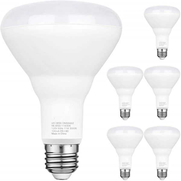 Racdde 6 Pack Flood Light Bulb, BR30 LED Bulb for Indoor/Outdoor Downlight Recessed Can Light, Dimmable, 11W=75W, 3000K Warm White, 850lm, E26 Base, UL Listed