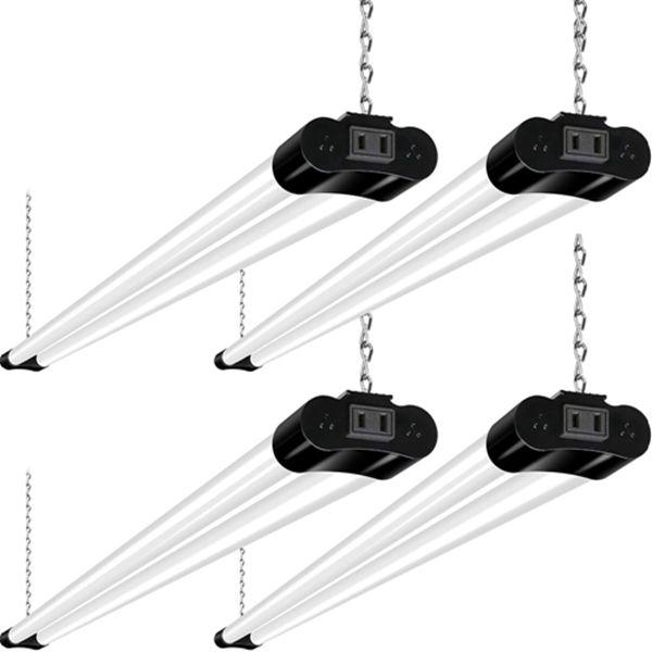 Racdde Linkable LED Shop Light for Garage, 4FT 36W Utility Light Fixture for Workshop Basement, 5000K Daylight LED Workbench Light with Plug[250W Equivalent] Hanging or Surface Mount, Black-4 Pack