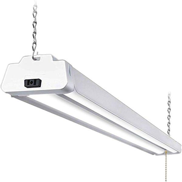Racdde 5000K LED Shop Light Linkable, 4FT Daylight 42W LED Ceiling Lights for Garages, Workshops, Basements, Hanging or FlushMount, with Plug and Pull Chain, 4200lm, ETL- 1 Pack