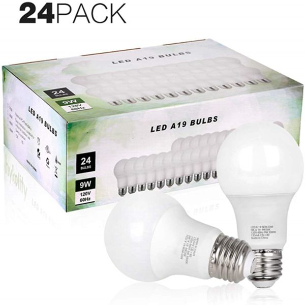 Racdde 24 Pack 60W Equivalent A19 LED Light Bulb, 9W, 5000K Daylight, 800LM, E26 Medium Base, Non-Dimmable, UL Listed