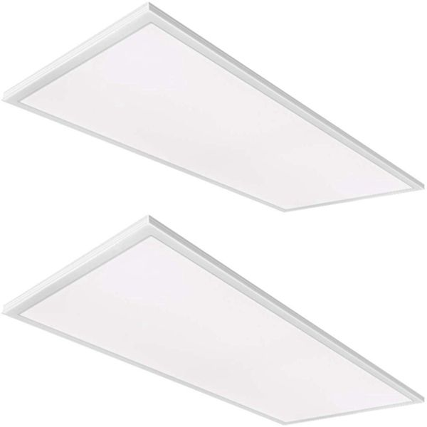 Racdde 2x4 FT White LED Flat Panel Troffer Light, 50W 5000K Recessed Edge-Lit Drop Ceiling Light, 5250lm Lay in Fixture for Office, 0-10V Dimmable, 3-Lamp F32T8 Fixture Replacement, 2 Pack