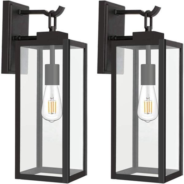 Racdde Outdoor Wall Lantern with ST19 LED Bulb,2700K,60W Equivalent, Matte Black Wall Light Fixtures, Architectural Wall Sconce with Clear Glass Shade for Entryway, Porch, Doorway, ETL Listed,2 Pack