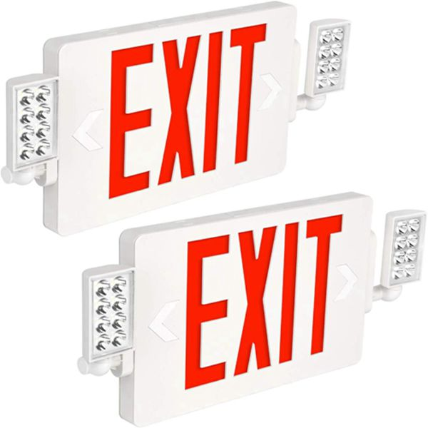 Racdde Ultra Slim Red Exit Sign, 120-277V Double Face LED Combo Emergency Light with Adjustable Two Head and Backup Battery - 2 Pack