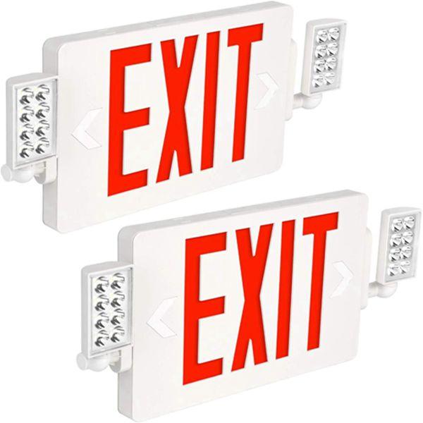 Racdde Ultra Slim LED Exit Sign, Red Letter Emergency exit Lights, 120V-277V Universal Mounting Double Face - 4 Pack