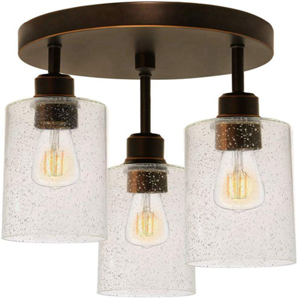 Racdde 3-Light Semi Flush Mount Ceiling Light, Oil-Rubbed Bronze Finish with Seeded Glass Shades (Bulbs Included), Dimmable ETL Listed for Kitchen, Stair and Hallway