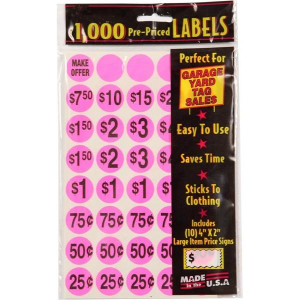 Racdde 7035 1000 Count Garage Sale Pricing Stickers, Pink