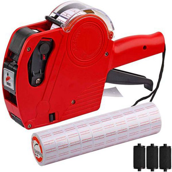 Racdde MX-5500 8 Digits Price tag Gun with 5000 Sticker Labels and 3 Ink Refill, Label Maker Pricing Gun Kit Numerical Tag Gun for Office, Retail Shop, Grocery Store, Organization Marking (Red)