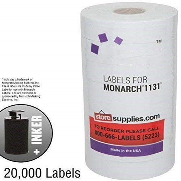 Racdde White Pricing Labels for Monarch 1131 Price Gun - 1 Sleeve, 20,000 Blank Marking Labels - with Ink Roll Included
