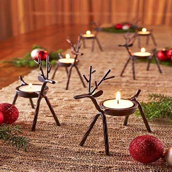 Racdde Reindeer Tealight Candle Holders Metal - Set of 6 - Best for Christmas Holiday