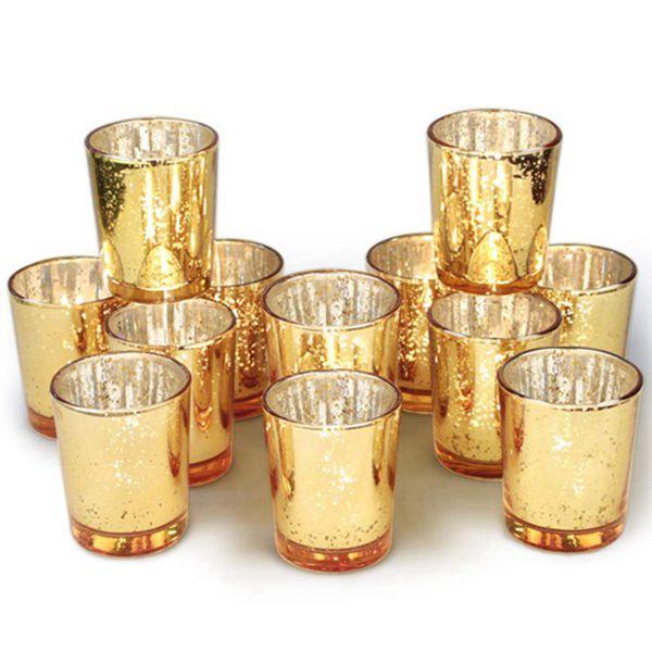 Racdde Gold Votive Candle Holders Bulk, Mercury Glass Tealight Candle Holder Set of 12 for Wedding Decor and Home Decor