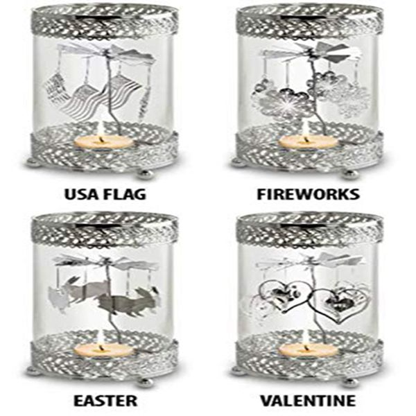 Racdde Holiday Metal Spinning Tea Light Holder (All Season Theme) | Includes (1) Holder and (8) Interchangeable Seasonal Spinning Designs