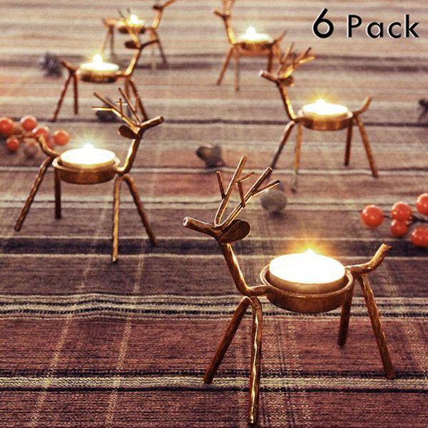 Racdde 6 Pack Metal Reindeer Tea Light Candle Holders, Christmas Decoration for Home, Reindeer Candle Holder, Metal Candle Holder, Christmas Candle Holder