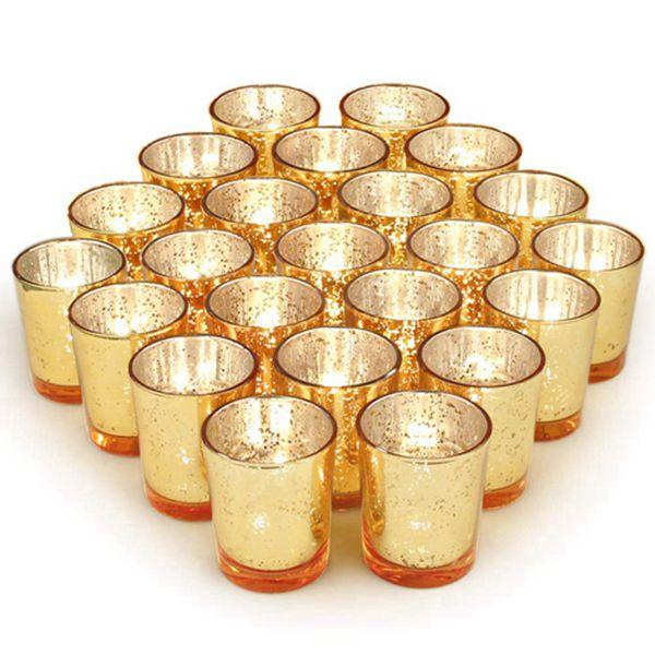 Racdde Gold Votive Candle Holders Set of 72, Mercury Glass Tealight Candle Holder Bulk for Wedding Decor and Home Decor