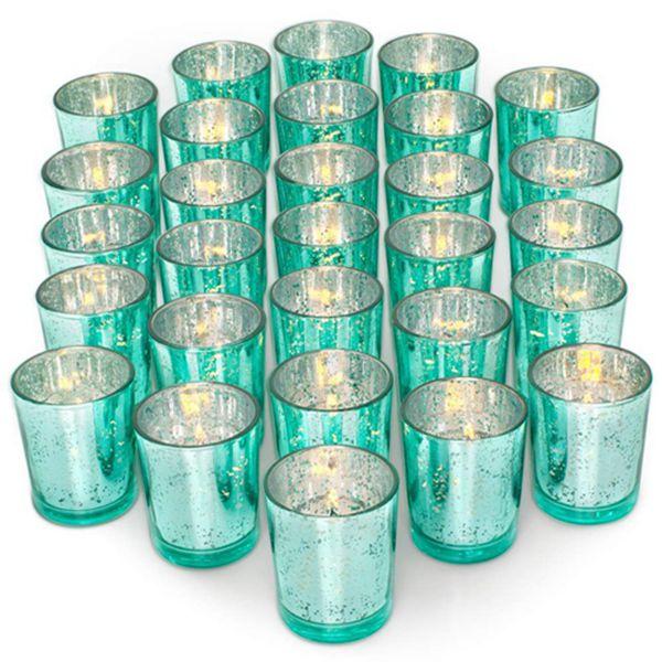 Racdde Glass Votive Candle Holders Set of 36 - Speckled Mercury Aquamarine Candle Holder Bulk - Ideal for Wedding Centerpieces & Home Decor