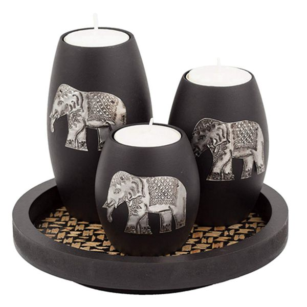Racdde's 3 Wooden Candle Holders with Candle Tray – Decorative Candle Holders with Inlaid Aluminium Antique Elephant – Intricate Details – Matte Wood Finish – Ideal for Modern & Rustic Settings