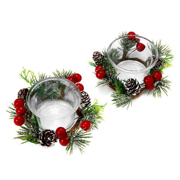 Racdde Christmas Votive Candle Holders with Snowy Pinecone Berry Candle Ring, Decorative Glass Tealight Candle Holder Set of 2 for Home, Wedding, Living Room and Bedroom Decor(Exclude Candles)