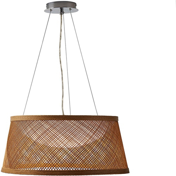 Racdde Modern Coastal Raffia Ceiling Hanging Pendant Chandelier Fixture With Built-In LED Light - 20.3 x 11 Inch Shade