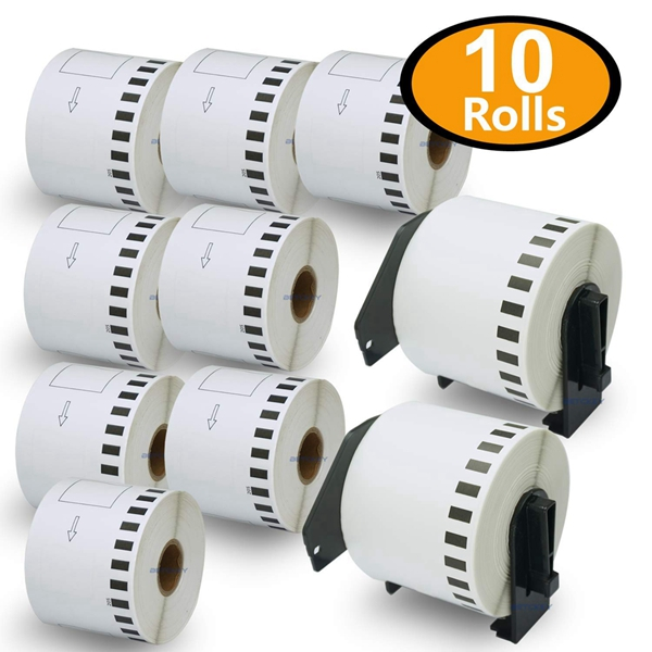 """Racdde - 10 Rolls Compatible Brother DK-2205 62mm x 30.48m(2-3/7"""" x 100') Continuous Length Paper Tape Labels With Two Refillable Cartridge Frame"""
