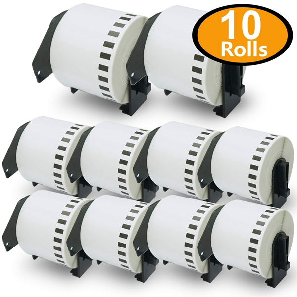 """Racdde - Compatible DK-2205 Continuous Length 2-3/7"""" x 100'(62mm x 30.48m) Replacement Labels,Compatible with Brother QL Label Printers [10 Rolls with Refillable Cartridge Frame]"""