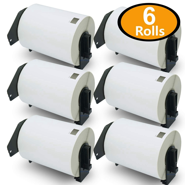 """Racdde - Compatible DK-1241 Shipping 4"""" x 6""""(101mm x 152mm) Replacement Labels,Compatible with Brother QL Label Printers [6 Rolls/1200 Labels with Refillable Cartridge Frame]"""