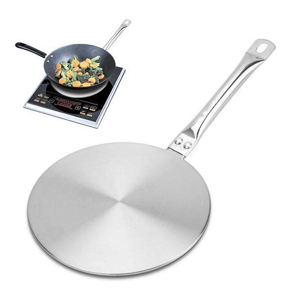 Racdde 7.5Inch Heat Diffuser Simmer Ring Plate, Stainless Steel with Stainless Handle, Induction Adapter Plate for Gas Stove Glass Cooktop Converter, Flame Guard Induction Hob Pans